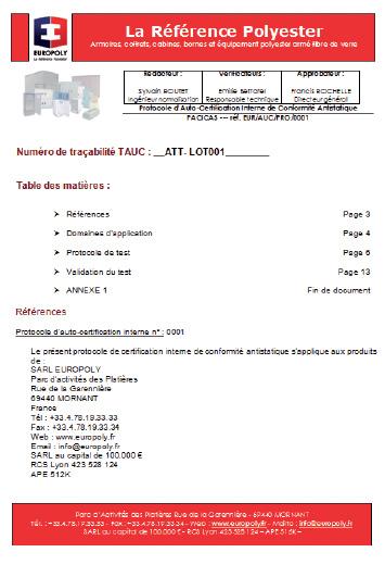 protocole auto certification